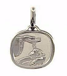 Picture of Baptism Gift of God Sacred Square Medal Pendant gr 1,7 White Gold 18k for Baby Girl and Boy