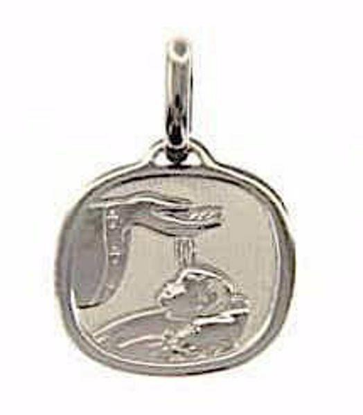 Imagen de Bautismo Don de Dios Medalla Sagrada Colgante cuadrada gr 1,7 Oro blanco 18kt para Bebés (Niños y Niñas)
