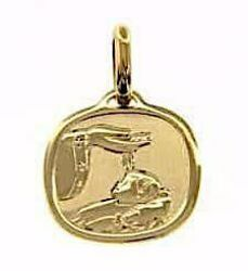 Picture of Baptism Gift of God Sacred Square Medal Pendant in bas-relief for Baptism gr 1,75 Yellow Gold 18k for Baby Girl and Boy