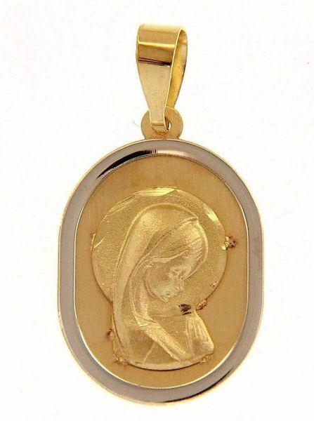 Imagen de Nuestra Señora Madonna en Oración con aureola Medalla Sagrada Colgante oval gr 1,2 Bicolor Oro blanco amarillo 18kt para Mujer