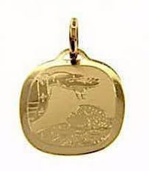 Picture of Baptism Gift of God Sacred Square Medal Pendant gr 1 Yellow Gold 18k for Baby Girl and Boy