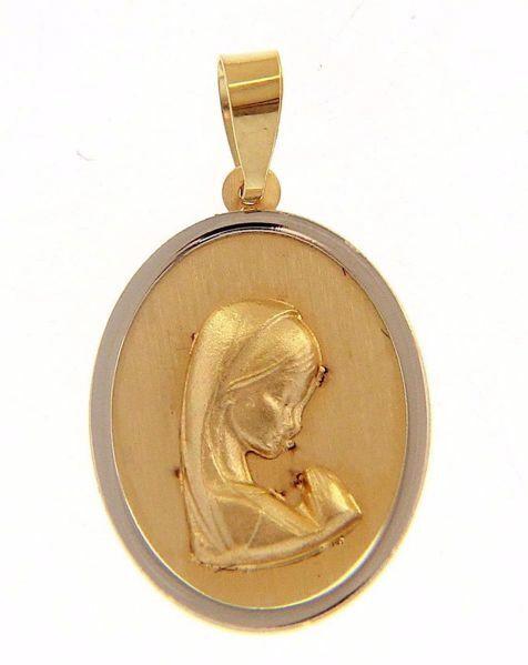 Imagen de Nuestra Señora Madonna en Oración Medalla Sagrada Colgante oval gr 1,4 Bicolor Oro blanco amarillo 18kt para Mujer