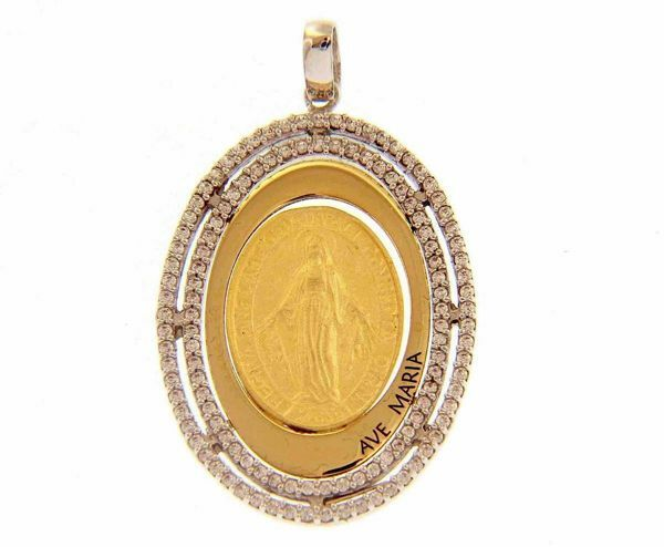 Picture of Ave Maria Miraculous Medal Our Lady of Graces Regina sine labe originali concepta o.p.n. Sacred Oval Medal Pendant gr 4,5 Bicolour yellow white Gold 18k with Zircons