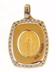 Picture of Ave Maria Miraculous Medal Our Lady of Graces Regina sine labe originali concepta o.p.n. Sacred Rectangular Medal Pendant gr 2,4 Bicolour yellow white Gold 18k Zircons