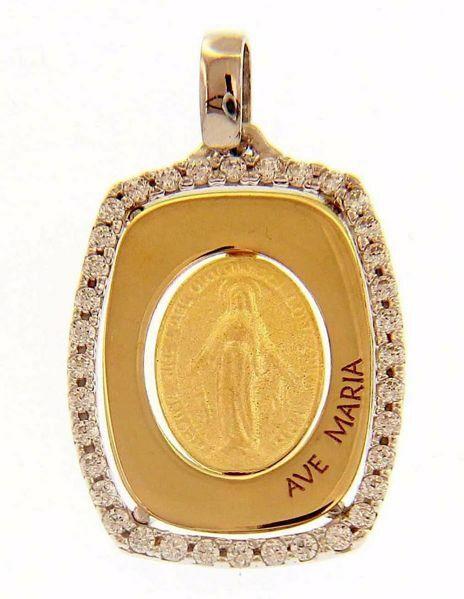 Immagine di Ave Maria Madonna Miracolosa Regina sine labe originali concepta o.p.n. Medaglia Sacra Pendente rettangolare gr 2,4 Bicolore Oro giallo bianco 18kt Zirconi da Donna