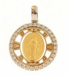 Picture of Our Lady of Graces Regina sine labe originali concepta o.p.n. Light Spots Sacred Medal Round Pendant gr 2,3 Bicolour yellow white Gold 18k with Zircons for Woman