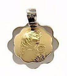 Imagen de Virgen con el Niño de Ferruzzi Medalla Sagrada Colgante redonda gr 1,5 Bicolor Oro blanco amarillo 18kt con borde de flor para Mujer