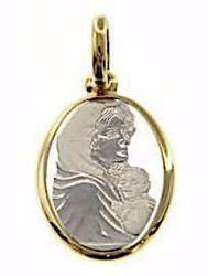 Imagen de Virgen con el Niño de Ferruzzi Medalla Sagrada Colgante oval gr 1,8 Bicolor Oro blanco amarillo 18kt para Mujer