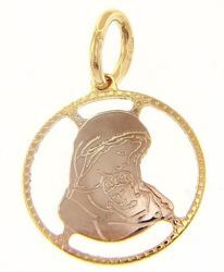 Picture of Perforated Madonna and Child Sacred Medal Round Pendant gr 1 Bicolour yellow white Gold 18k for Woman