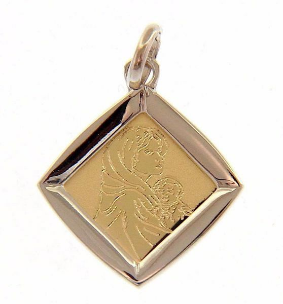 Picture of Madonna and Child by Ferruzzi Sacred Medal Pendant gr 1,45 Bicolour yellow white Gold 18k for Woman