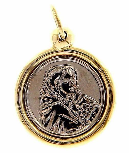 Picture of Madonna and Child by Ferruzzi Sacred Medal Round Pendant gr 3 Bicolour yellow white Gold 18k for Woman