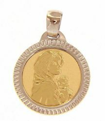 Picture of Madonna and Child by Ferruzzi with carved Edge Sacred Medal Round Pendant gr 2,5 Bicolour yellow white Gold 18k for Woman