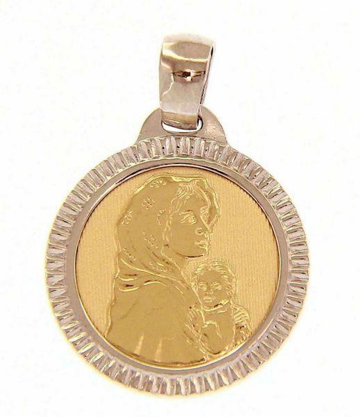 Immagine di Madonna con Bambino del Ferruzzi bordo lavorato Medaglia Sacra Pendente tonda gr 2,5 Bicolore Oro giallo bianco 18kt da Donna