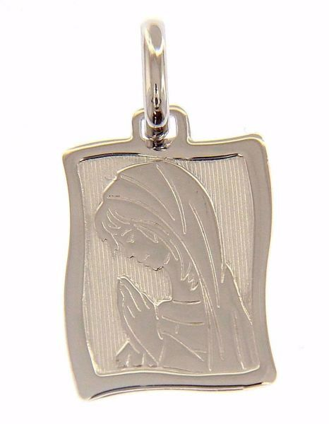 Picture of Madonna in prayer Sacred Rectangular Medal Pendant gr 1,5 White Gold 18k for Woman
