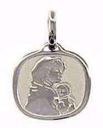 Imagen de Virgen con el Niño de Ferruzzi Medalla Sagrada Colgante cuadrada gr 1,6 Oro blanco 18kt para Mujer