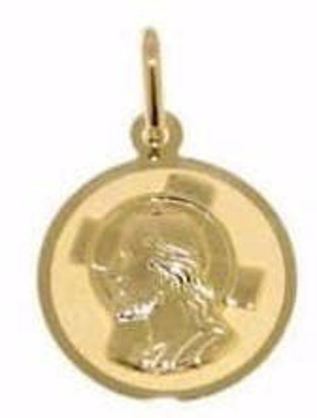 Picture of Jesus Christ with aureole Sacred Medal Round Pendant gr 0,85 Yellow Gold 18k for Woman