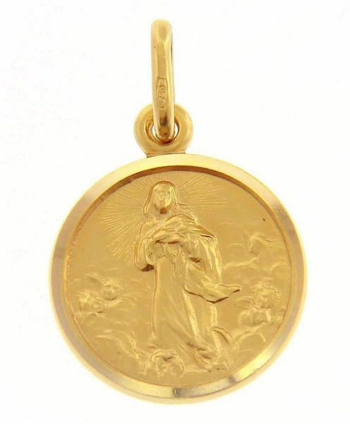 Picture of Immaculate Virgin Mary Coining Sacred Medal Round Pendant gr 2,7 Yellow Gold 18k with smooth edge for Woman