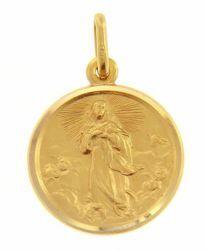 Immagine di Maria Madonna Immacolata Medaglia Sacra Pendente tonda Conio gr 3,4 Oro giallo 18kt con bordo liscio da Donna