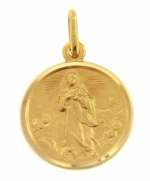 Picture of Immaculate Virgin Mary Coining Sacred Medal Round Pendant gr 3,4 Yellow Gold 18k with smooth edge for Woman