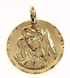 Picture of Madonna Our Lady of Sorrows Sacred Medal Round Pendant gr 4,9 Yellow Gold 18k for Woman