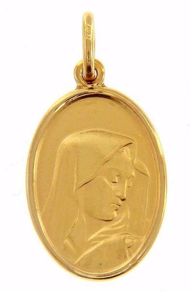 Imagen de Virgen María Nuestra Señora de los Dolores Medalla Sagrada Colgante oval Acuñación gr 2,9 Oro amarillo 18kt para Mujer