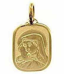 Picture of Madonna Our Lady of Sorrows Sacred Rectangular Medal Pendant in bas-relief gr 2,4 Yellow Gold 18k for Woman