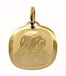 Picture of Madonna Our Lady of Sorrows Sacred Square Medal Pendant gr 1 Yellow Gold 18k for Woman