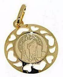 Picture of Madonna Our Lady of Sorrows Sacred Medal Round Pendant gr 1 Yellow Gold 18k with heart Frame for Woman