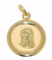 Picture of Our Lady Virgin Mary Sacred Medal Round Pendant gr 1,2 Yellow Gold 18k for Woman