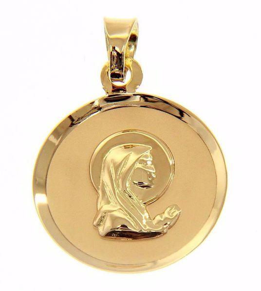 Imagen de Nuestra Señora Madonna en Oración Medalla Sagrada Colgante redonda gr 1,15 Oro amarillo 18kt para Mujer