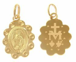 Picture of Miracolous Madonna Our Lady of Graces Ó Maria concebida sem pecado, rogai por nós ... Medal Pendant gr 1,25 Yellow Gold 18k engraved back flower edge