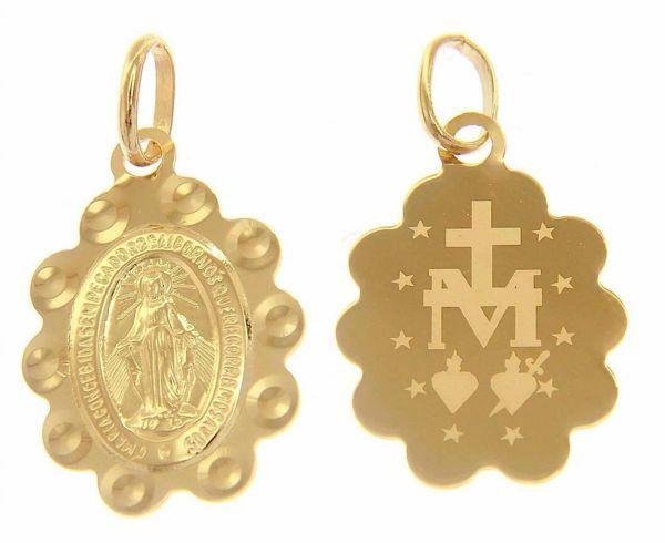Picture of Miracolous Madonna Our Lady of Graces Ó Maria concebida sem pecado, rogai por nós ... Medal Pendant gr 1,25 Yellow Gold 18k engraved back flower edge