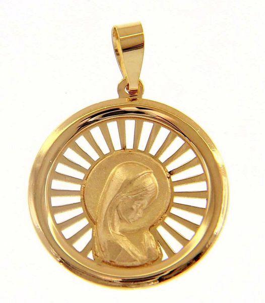 Imagen de Nuestra Señora Madonna en Oración con aureola Medalla Sagrada Colgante redonda gr 1,6 Oro amarillo 18kt para Mujer