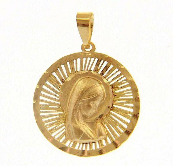 Imagen de Nuestra Señora Madonna en Oración con aureola borde trabajado Medalla Sagrada Colgante redonda gr 1,2 Oro amarillo 18kt para Mujer