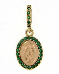 Picture of Miracolous Madonna Our Lady of Graces with crown Coining Sacred Oval Medal Pendant gr 1,5 Yellow Gold 18k green Zircons Mother of Pearl