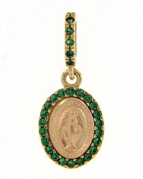 Imagen de Virgen María Nuestra Señora Milagrosa con Corona Medalla Colgante oval Acuñación gr 1,5 Oro amarillo 18kt Zircones verdes Madreperla para Mujer