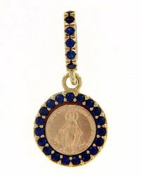 Picture of Miracolous Madonna Our Lady of Graces with crown Coining Sacred Medal Round Pendant gr 1,4 Yellow Gold 18k blue Zircons Mother of Pearl for Woman