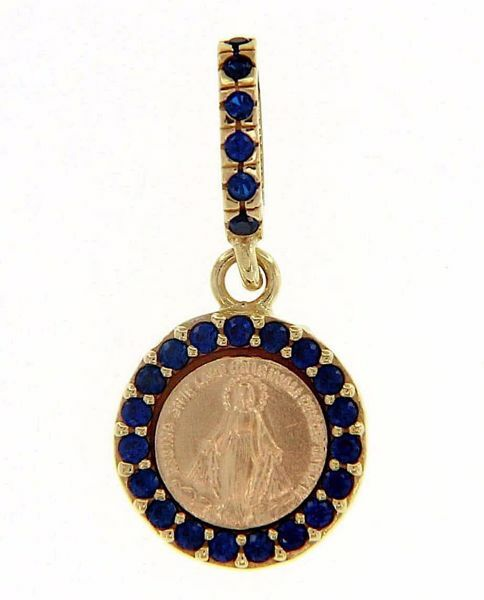 Immagine di Madonna Miracolosa con corona e punti luce Medaglia Sacra Pendente tonda Conio gr 1,4 Oro giallo 18kt con Zirconi blu e Madreperla da Donna