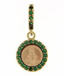 Picture of Miracolous Madonna Our Lady of Graces with crown Coining Sacred Medal Round Pendant gr 1,4 Yellow Gold 18k green Zircons Mother of Pearl for Woman