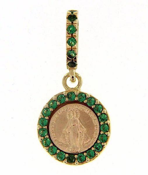 Immagine di Madonna Miracolosa con corona e punti luce Medaglia Sacra Pendente tonda Conio gr 1,4 Oro giallo 18kt con Zirconi verdi e Madreperla da Donna