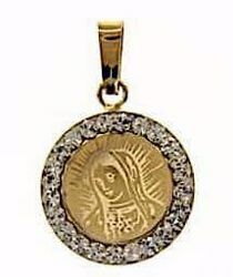 Picture of Madonna Our Lady of Sorrows with corona Medal Round Pendant gr 0,65 Yellow Gold 18k with Zircons for Woman