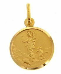 Picture of Madonna Our Lady of the Guard with Boy and Crown Coining Sacred Medal Round Pendant gr 2,4 Yellow Gold 18k with smooth edge for Woman