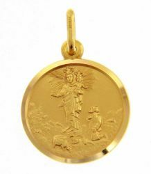 Picture of Madonna Our Lady of the Guard with Boy and Crown Coining Sacred Medal Round Pendant gr 3 Yellow Gold 18k with smooth edge for Woman