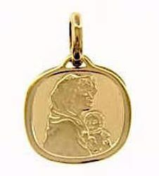 Picture of Madonna and Child Sacred Square Medal Pendant in bas-relief gr 1,7 Yellow Gold 18k for Woman