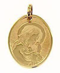 Imagen de Virgen con el Niño de Ferruzzi Medalla Sagrada Colgante oval gr 2,3 Oro amarillo 18kt para Mujer