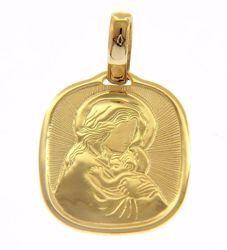 Imagen de Virgen con el Niño y rayos de luz Medalla Sagrada Colgante cuadrada gr 2,7 Oro amarillo 18kt para Mujer
