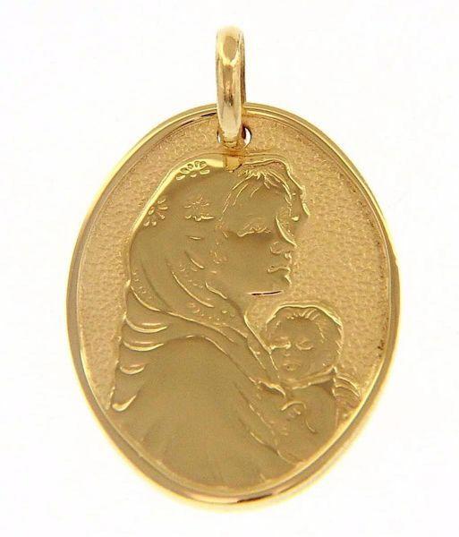 Imagen de Virgen con el Niño de Ferruzzi Medalla Sagrada Colgante oval gr 2,1 Oro amarillo 18kt para Mujer