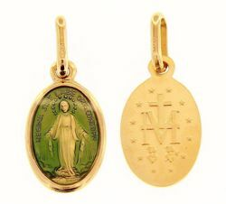 Picture of Miracolous Madonna Our Lady of Graces Coining Sacred Oval Medal Pendant gr 1,5 Yellow Gold 18k with green Enamel for Woman