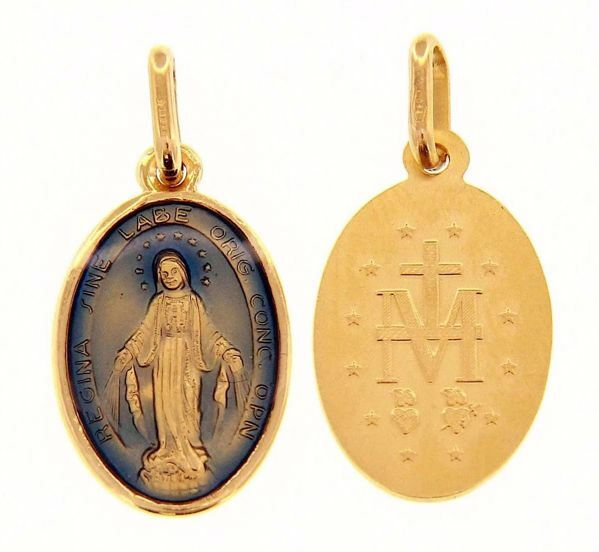 Picture of Miracolous Madonna Our Lady of Graces Coining Sacred Oval Medal Pendant gr 2,2 Yellow Gold 18k with blue Enamel for Woman