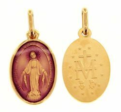 Picture of Miracolous Madonna Our Lady of Graces Coining Sacred Oval Medal Pendant gr 2,2 Yellow Gold 18k with purple Enamel for Woman